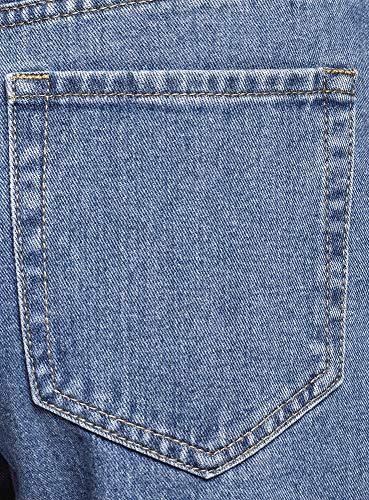 oodji Ultra Damen Jeans Mom Fit mit Hohem Bund, Blau, 28W / 32L (DE38 = EU40 = M) -