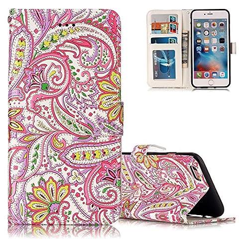 Étui iPhone 6 PLUS, Aeeque® Luxe Motif Fleur de Vie Couleur Pochette Housse Flip en PU Cuir Souple Anti Choc Coque de Protection pour iPhone 6plus/6Splus 5.5