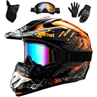 WEITY Casco da Motocross Set con Occhiali Guanti Face Mask, per bambini e adulti, casco da motociclista AVT MX integrale…