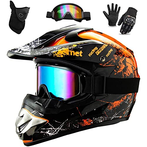 WEITY Casco da Motocross Set con Occhiali Guanti Face Mask, per bambini e adulti, casco da motociclista AVT MX integrale per Downhill Offroad Enduro Scooter Sport (Orange,S)