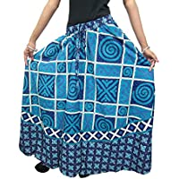 Mogul Interior Women's Long Skirt Ethnic Printed Cotton Maxi One Size Blue