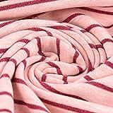 Baumwolljersey Jersey-Stoff Streifen Lurex rosa meliert pink Glitzer 1,5m Breite