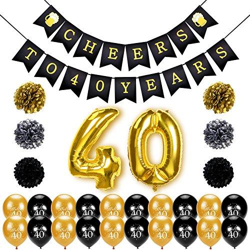 40. geburtstag deko, Konsait Cheers zum 40. Geburtstag Girlande, Große 40 Jahre Folienballons, Papierblumen, Pom Poms, 20Stk schwarz und Gold Latex Luftballons Dekoration für 40 Geburtstagsfeier