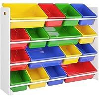 Étagère à jouets pour enfants avec 16 boîtes en plastique - Pour chambre d'enfant - 105 x 23 x 80 cm
