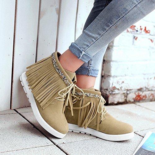 Mee Shoes Damen Pailletten Quaste bequem Knöchelstiefel Aprikose