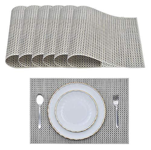 Gold Leaf Teller (Decozen Platzsets für Esstisch, Couchtisch 6er Set Platzsets leicht zu reinigen Hitzebeständig Tischunterlage 45,7 x 30,5 cm Palm Leaf Pattern)