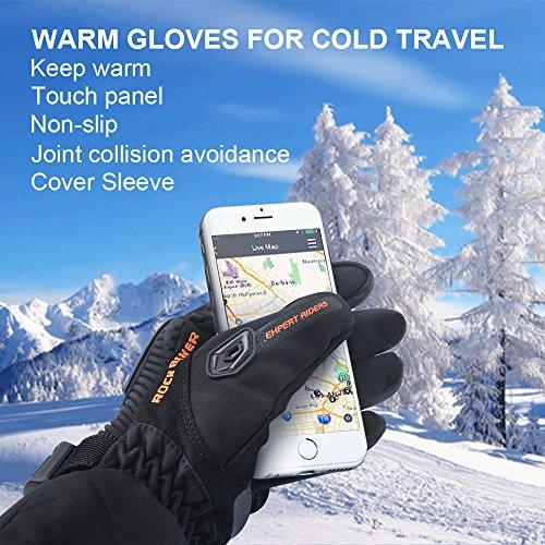 Motorrad Handschuhe Winter Warm Handschuhe Touch Screen Wasserdicht Winddicht Sporthandschuhe ( XL,Schwarz) - 5