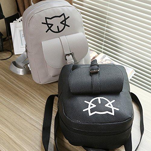 Rucksack einfach Schultertasche Kätzchen Frauen black Tasche niedlich Mini Die ZnfAWRA