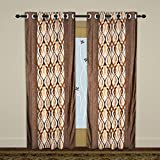 Homely 2 Piece Polyester Geometric Long Door Curtains Set - 9 ft., Coffee