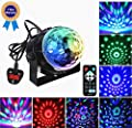Disco DJ Stage Lights,Carryme 3W LED RGB 7colors Mini Strobe Light Projector Flash Lamp Sound Music Activated Party Crystal Magic Rotating Star Glitter Mirror Ball Lights Effect For Home Karaoke KTV Xmas Wedding Celebration Show Club Pub Bar Color Changin