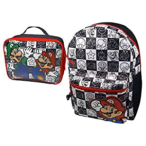 Nintendo Super Mario Bros. Children's Backpack Mario and Luigi Chequered Backpack/ Lunch Bag Giftset, Black/ White BIO-BP881402NTN