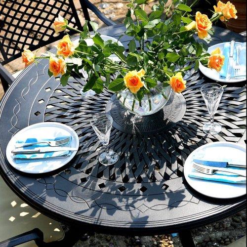 Amy 120cm Rundes Gartenmöbelset - 1 AMY Tisch + 4 JANE Stühle