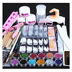 Tongshi Polvo de acrílico Glitter uñas cepillo dedo falsa bomba uñas herramientas Kit Set