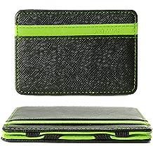 Monedero mágico Titular de la tarjeta de crédito 4 ranuras para tarjetas Clip de dinero flexible Carteras de cuero PU delgado, Verde