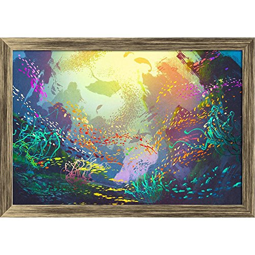 Pitaara Box Underwater with Coral Reef & Colorful Fish Canvas Painting Antique Golden Frame 23.3 X 16Inch - Home Essentials Reef