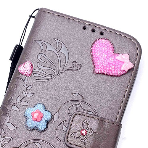 """iPhone 7 Coque Élégant Filles Cuir Portefeuille Etui Rabat Style 3D Rose Cœur Bowknot Fleur Embossage Serie Case pour Apple iPhone 7 4.7"""" Gris"""