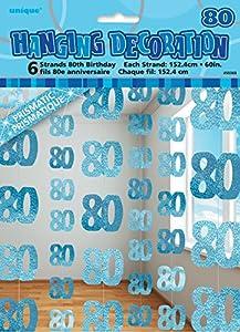 Unique Party- Paquete de 6 decoraciones de 80 cumpleaños, Color azul, Edad (55369)
