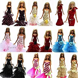 Barwa 13 items =3 Pcs Night Looks Princess Evening Wedding Party Dress Clothes Gown Outfit +10 Pair Shoes for Barbie Doll Random Style