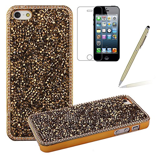 iPhone 5C Bling Hart Case - Felfy Diamant Luxus Kristall Strass Glitzer Shining Hard Back Cover Schale Handy Tasche Etui Hülle Protection für Apple iPhone 5C + 1x Gold stylus + 1x Screen Protector (Gold 5c Screen Protector)