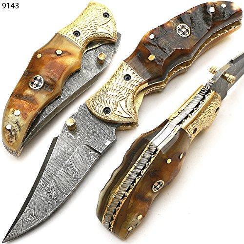 9143 coltello damasco artigianale - coltello pieghevole - coltello da campeggio - coltello tascabile - coltello da collezione - con fodero in pelle - coltello di alta qualità 100%