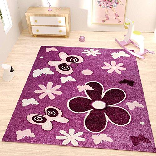 Kinderzimmer Teppich Modern in Lila Pink Flauschig Blumen Schmetterlinge Konturenschnitt Geprüft von Ökotex - VIMODA, Maße:60x110 cm (Läufer Blumen)