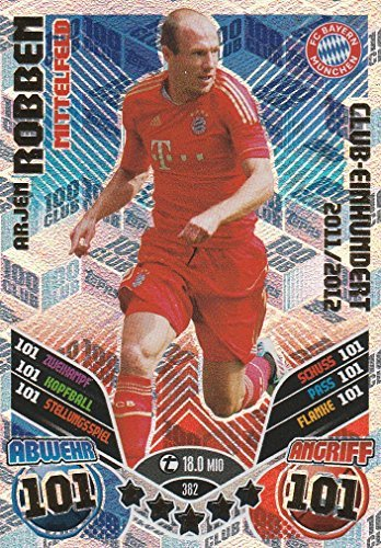 382 - Arjen robben- Bayern Munich - Club One Hundred   Topps Match Attax Bundesliga 2017 2018