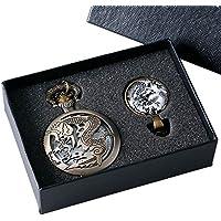 Miliya Vintage Fiery Drago quarzo orologio da tasca collana pendente uomini ragazzo regalo - Drago Quarzo Orologio