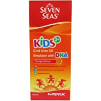 Merck 7 Seas Kid's 2+ Cod Liver Oil Emulsion with DHA Orange Flavour 100 ml (Pack of 2)