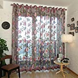 display08 Chinesische Textil Blume bestickt Stoff Tüll Sheer 3D Fenster Vorhang Home Decor, Polyester, violett, 140cm x 250cm(On Rod)