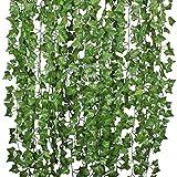 Romote 84ft-12Pack Girlande, künstlicher Efeu Pflanzen Vine Aufhängen Hochzeit Girlande Fake Blattwerk Blumen Home Kitchen Garden Office Hochzeit Wand Decor