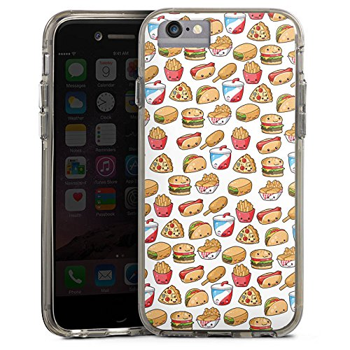 Apple iPhone 6 Plus Bumper Hülle Bumper Case Glitzer Hülle Hamburger Pommes Pizza Bumper Case transparent grau