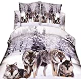 LKKLILY-Three Piezas de Lobos (1edredones y 2Hojas) en la Ropa de Cama Textil hogar Nieve