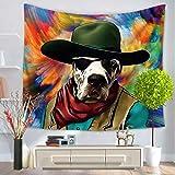 GuDoQi Tapisserie Einäugiger Hund mit einem Cowboy-Hut Tier Star Gesicht kreative Tapisserie Wandteppich Wand Dekoration Home Decor Beach Blanket