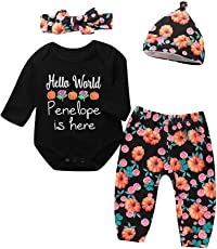 Infant Baby Girls Boys Letter Print Romper Headbands Pants Cap Halloween Outfits
