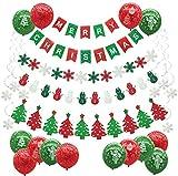 Weihnachten Dekoration Set, Cocodeko MERRY CHRISTMAS Frohe Weihnachten Girlande Banner mit Schneeflocken Schneemann Weihnachtsbaum Flagge und Schneeflocken Hängende Dekoration Luftballons