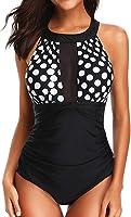 Socluer Femme Maillot de Bain Elégant Amincissant Monokini Push Up 1 Pièce Shorty Chic Noir