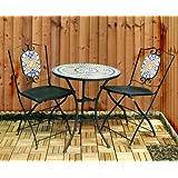 Kingfisher–Juego de muebles de jardín patio, jardín de 3piezas mosaico