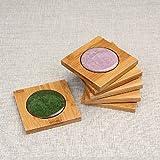 INOVEY Creative Square Bambus Coaster Tee Tasse Halter Matte Ice Crack Keramik Coaster Kung Fu Tee Acess - Weiß