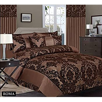 Royal Damask Super King Size Duvet Cover Set Chocolate Brown Bedding  260x220cm +2pillowcses 50x75cm