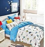 Cliab Airplanes Duvet Cover Single Set Bedding for Kids Boys Girls 100% Cotton 2 Pieces