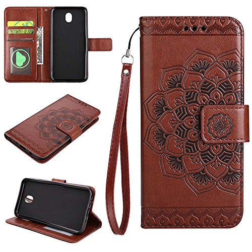 (European version)Galaxy J730 / J7 2017 / J7 Pro 2017 Wallet Case, EST-EU Retro Mandala Embossing PU Leather Stand Function Protective Covers with Card Slot Holder Wallet Book Case for Samsung Galaxy J730 / J7 2017 / J7 Pro 2017, Brown