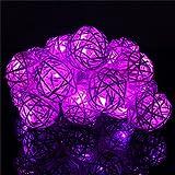 Lichterkette FeiliandaJJ 3M 20LED Rattankugel Lichterkette Weihnachten Dekoration für Bar, Party, Zimmer, Garten, Balkon, Weihnachten, Halloween, Hochzeit (Lila)