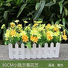 Hctina Fake flor artificial valla flor de seda amarillo planta en maceta Daisy-Chained balcón
