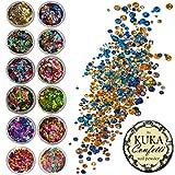 Kuka - 12confezioni di lustrini ad effetto ologramma in vari colori, per la decorazione di viso e corpo