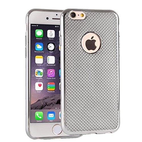 Phone case & Hülle Für iPhone 6 / 6s, Gitter Textur Galvanotechnik TPU Schutzhülle ( Color : Black ) Silver