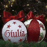 Crociedelizie, pallina di Natale con nome ricamato decorazione natalizia personalizzabile in lurex rosso e bianco idea regalo