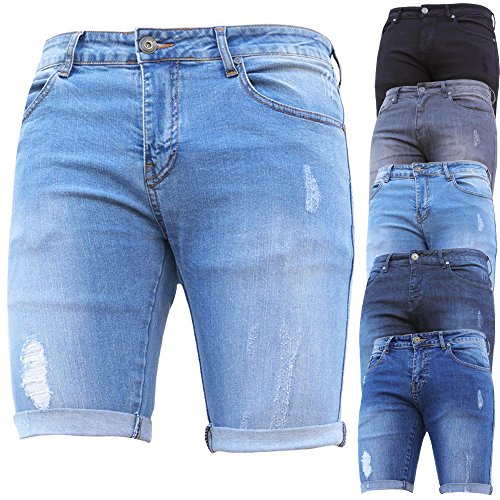 Denim And Dye Mens Skinny Stretch Ripped Stretch Denim Shorts