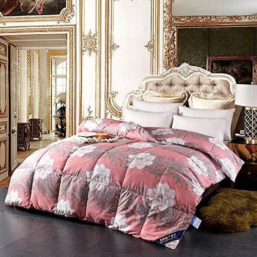 King Duvet Insert (LULUKEKE 100% Duvet King Size All Seasons Duvet Insert Classic Quilt Hypoallergene 100% Cotton Shell Down Proof, Doppelbett,Red,S)