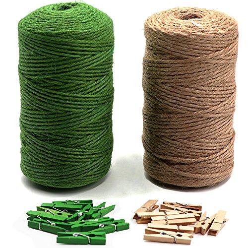 LIVEHITOP 200m Natural Cuerda de Yute, Verde Cordel de Cáñamo con 20 Clips para Jardinería Fotos...