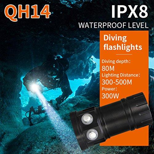 jamicy® 80 m plongée Lampe de poche LED Photographie Lumière Sous l'eau IPX8 Lampe torche étanche